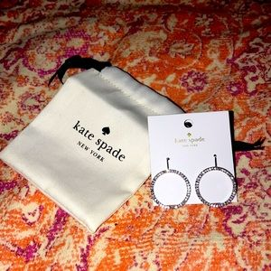 Kate Spade fashion diamond silver circle earrings